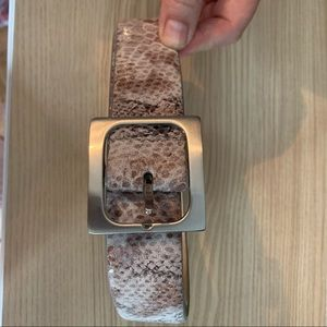 NWT From Macy's Leather Snake Print Belt 38 inches